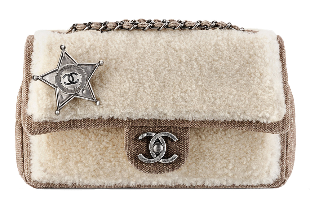 Chanel Sheepskin and Denim Sheriff Star Flap Bag Beige