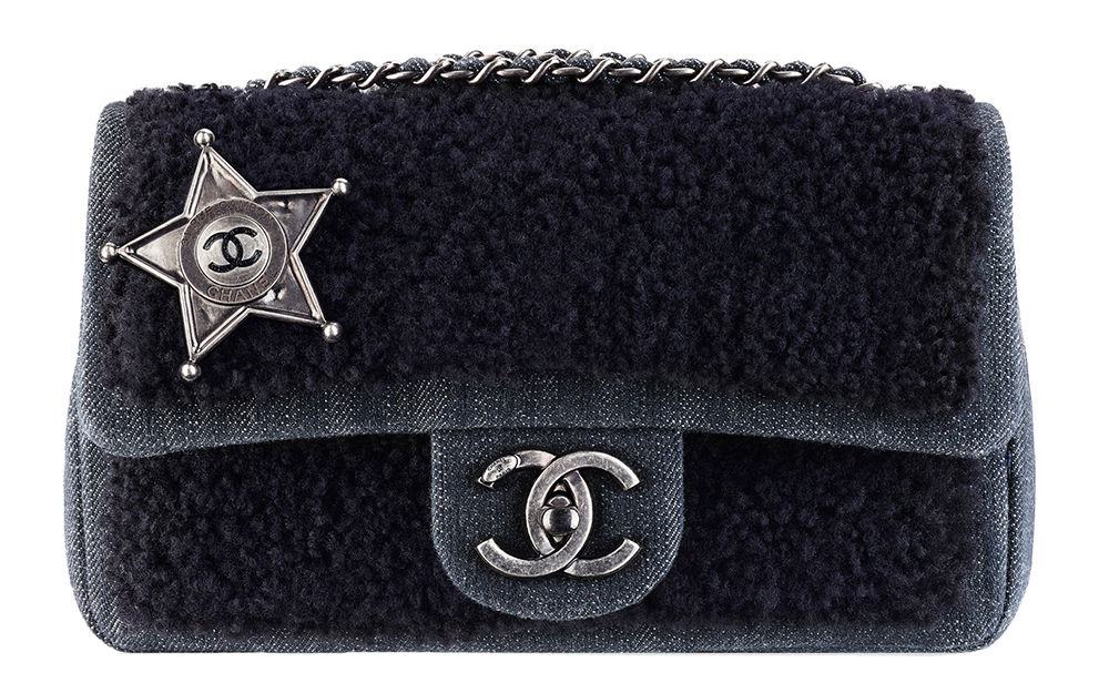 Chanel Sheepskin and Denim Sheriff Star Flap Bag