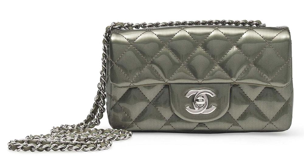 Chanel Single Flap Bag Jade Green High Gloss