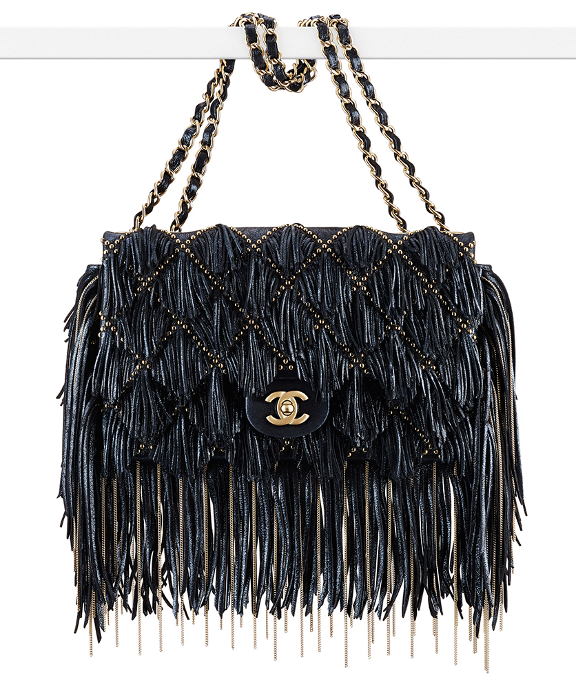 Chanel Sueded Leather Fringe Flap Bag