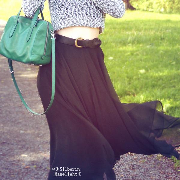 Green Bag Black Skirt