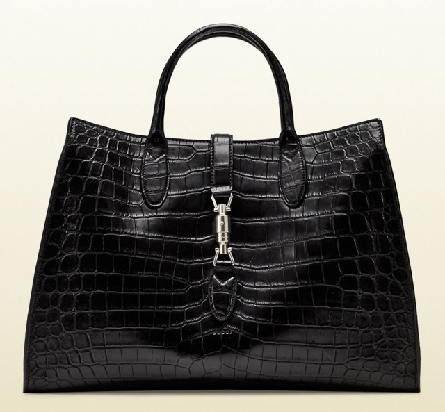 Gucci Jackie Soft Tote Black Crocodile