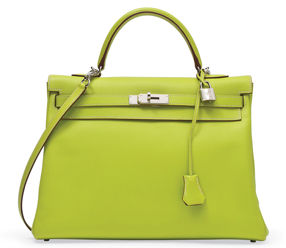 Hermes Candy Kelly Bag Kiwi and Lichen