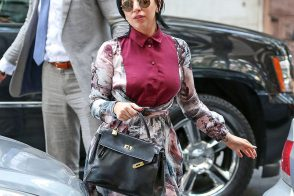 Lady Gaga Carries Vintage Hermes to Her Dad's Restaurant