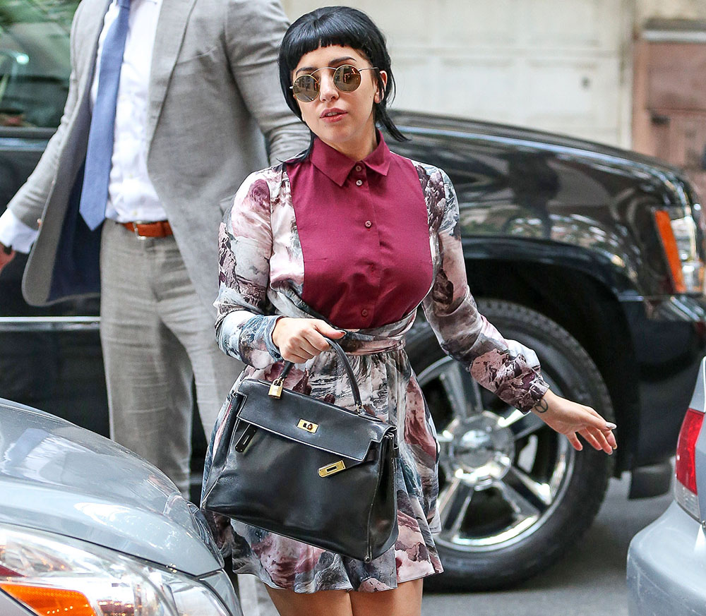 hermes crocodile bag - Lady Gaga Carries Vintage Hermes to Her Dad's Restaurant - PurseBlog