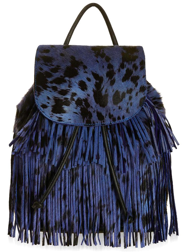 Topshop Calf Hair Fringe Backpack