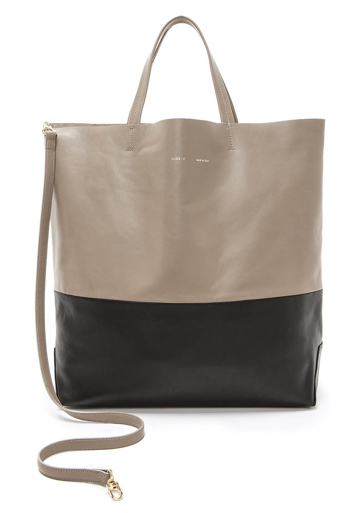 Alice.D Beige Black Leather Tote