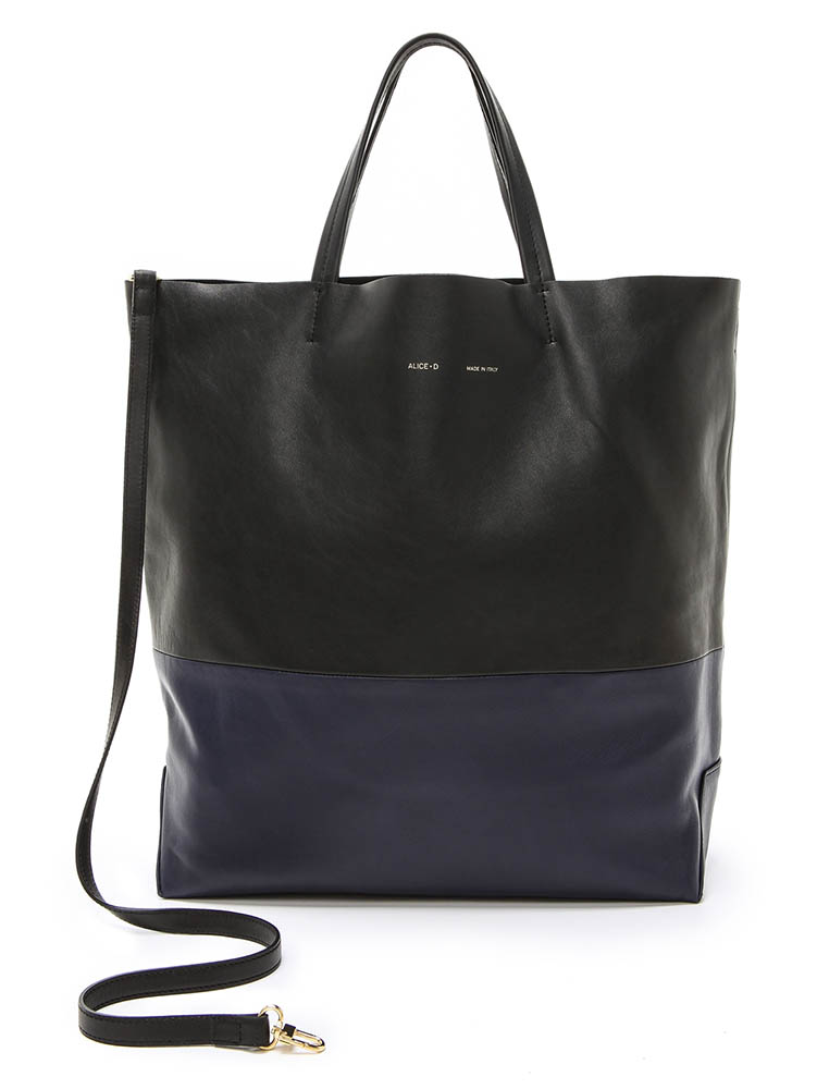 Alice.D Navy Black Leather Tote