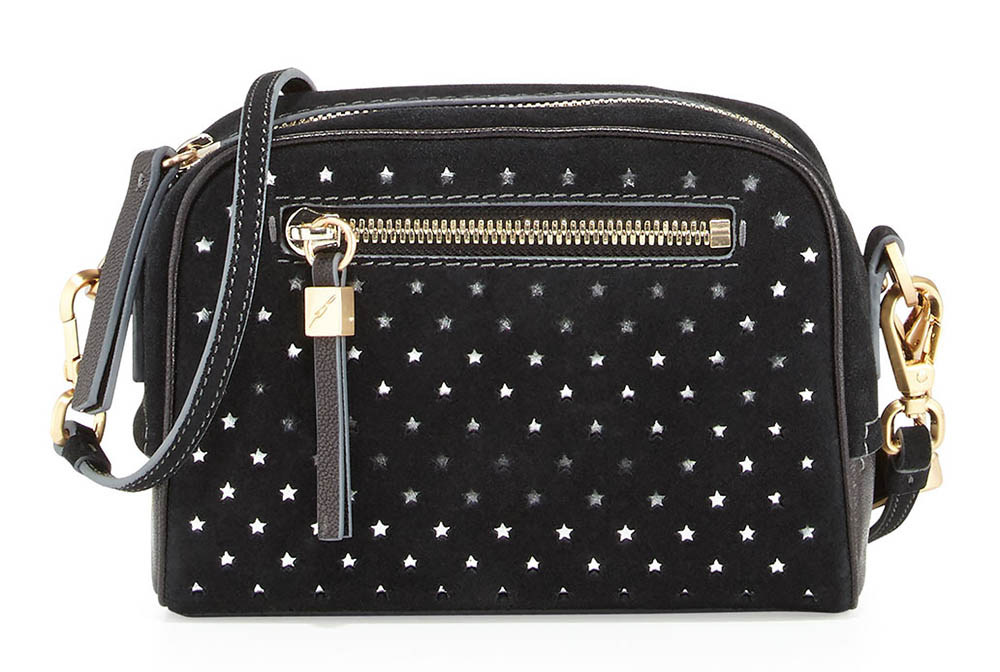 B Brian Atwood Barbara Perforated Star Suede Crossbody