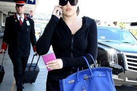 Khloe Kardashian Carries Her Trusty Blue Birkin
