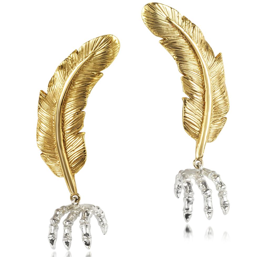 Bernard Delettrez Bronze Feather Earrings