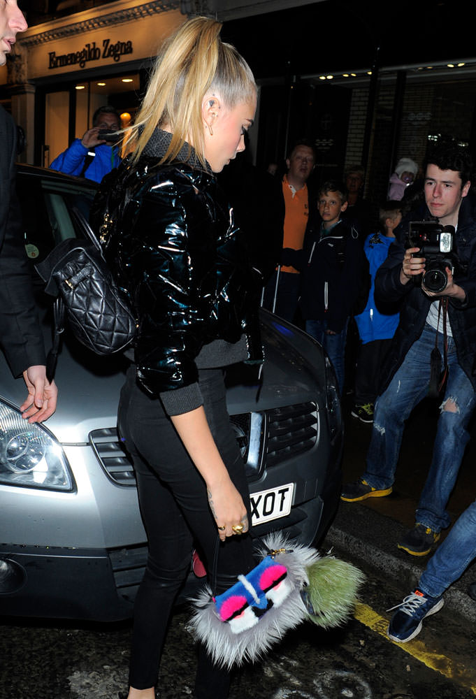 Cara-Delevingne-Fendi-Monster-Fur-Baguette-Bag