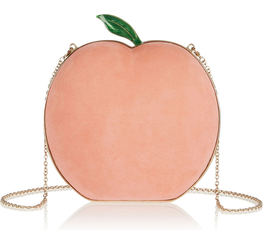 Charlotte Olympia What a Peach Suede Clutch