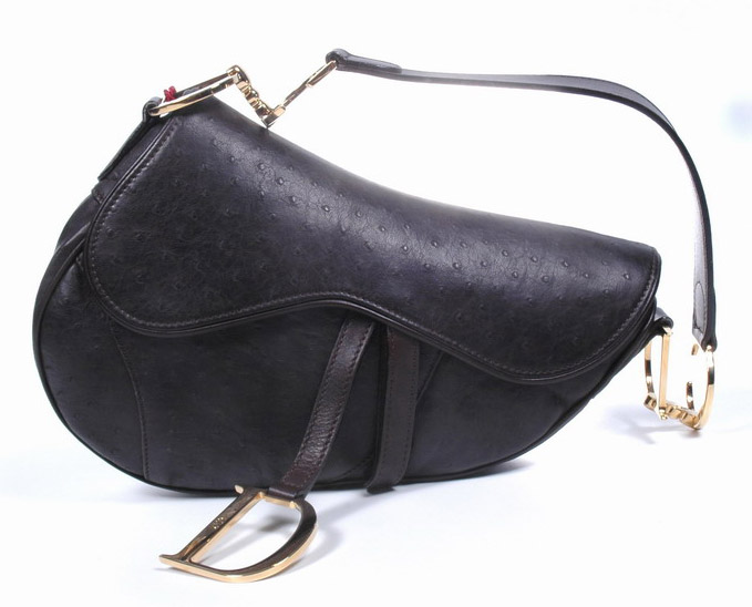 Christian Dior Ostrich Saddle Bag