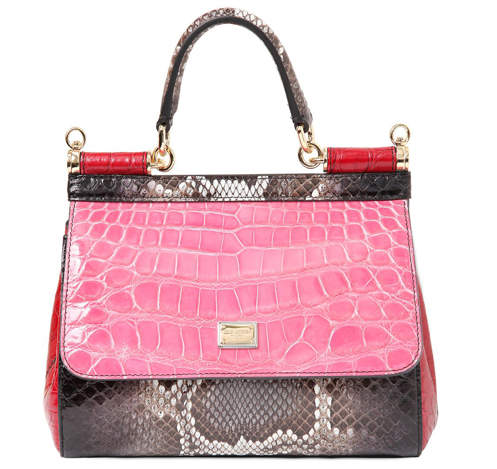 Dolce & Gabbana Small Sicily Patchwork Exotic Bag Pink