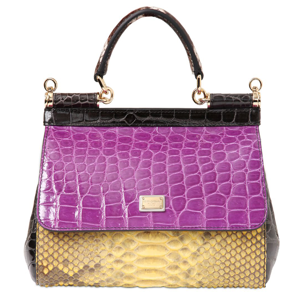 Dolce Gabbana Small Sicily Patchwork Exotic Bag Purple