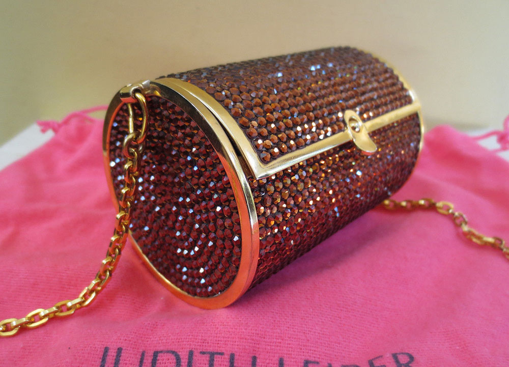 Judith Leiber Crystal Tube Clutch