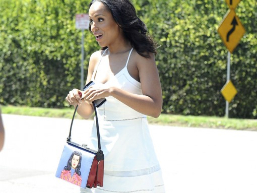 Kerry Washington Prada Face Mural Shoulder Bag