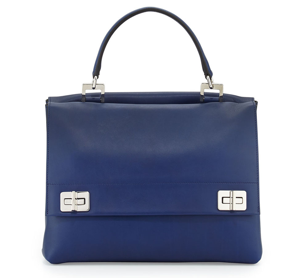 Prada Lux Calf Double Flap Shoulder Bag Blue
