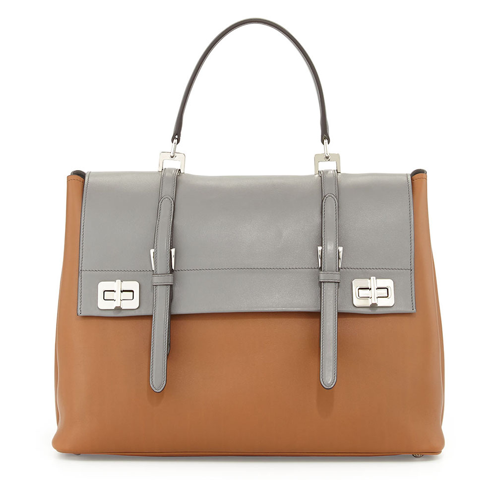 Prada Lux Calf Large Flap Satchel Bag Bicolor