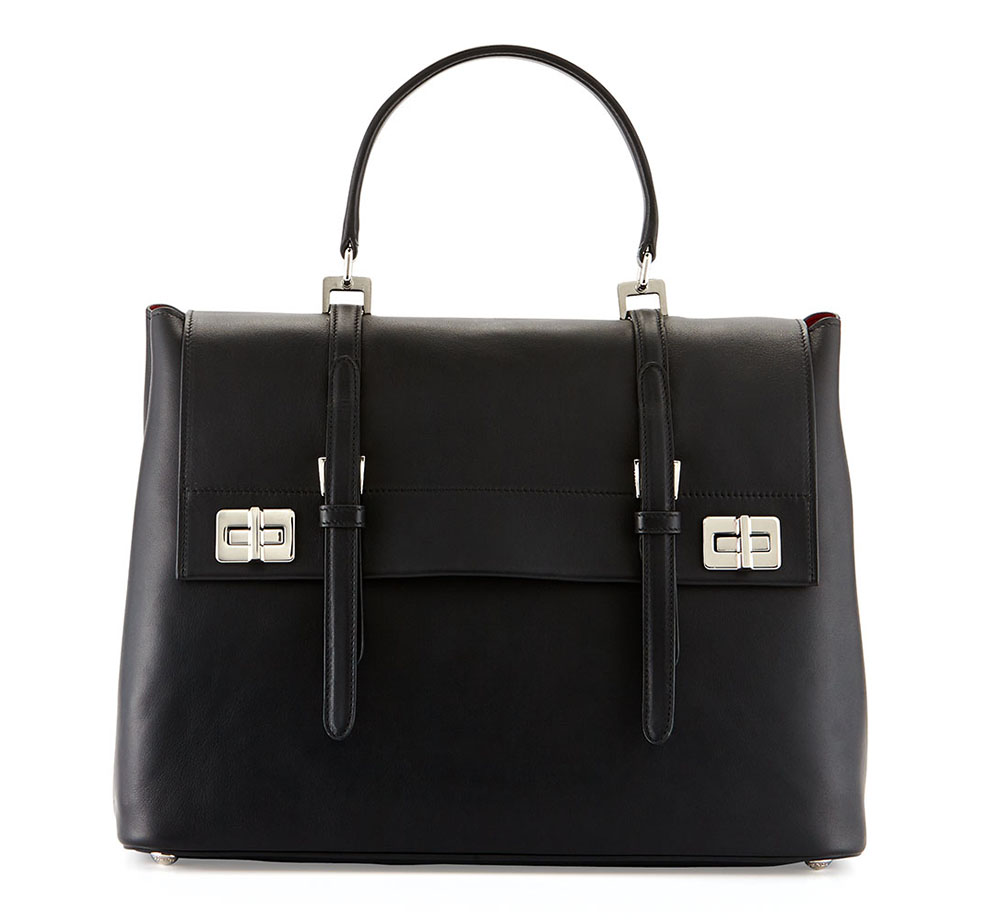 Prada Lux Calf Large Flap Satchel Black