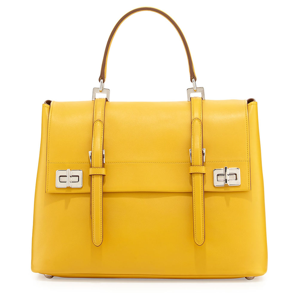 Prada Lux Calf Medium Flap Satchel Bag Yellow