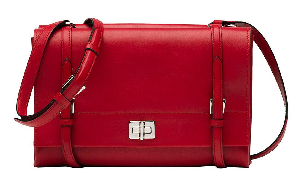 Prada Lux Calf Shoulder Bag Red