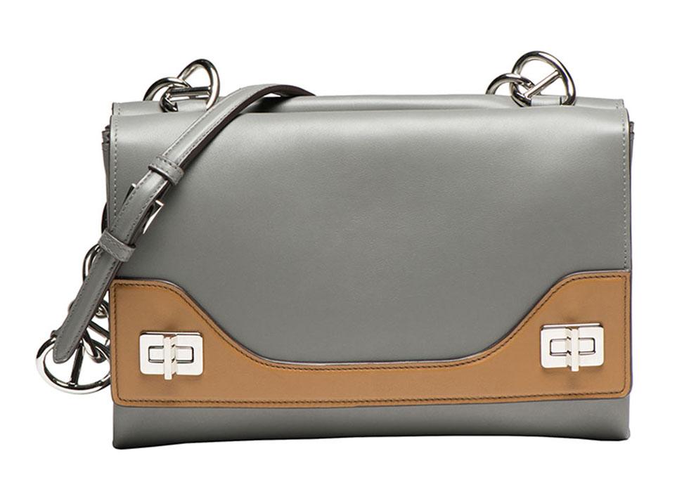 Prada Vitello Soft Bicolor Chain Shoulder Bag