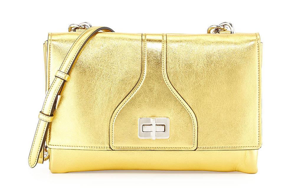 Prada Vitello Soft Chain Shoulder Bag Gold