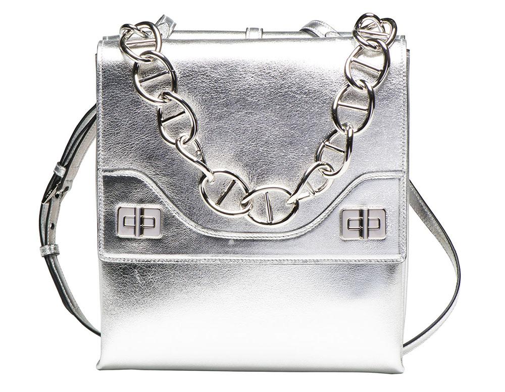 Prada Vitello Soft Chain Shoulder Bag Silver