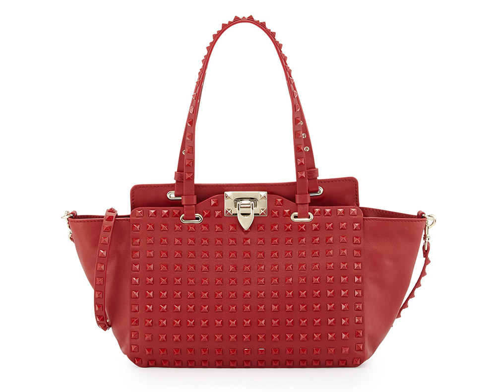 Valentino Rockstud Rouge Absolute Mini Trapeze Tote