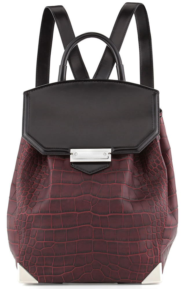 Alexander Wang Prisma Croco-Embossed Flat-Bottom Backpack