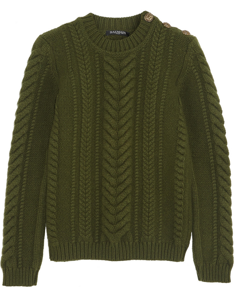 Balmain Cable Knit Wool Sweater