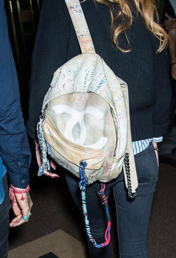 Bella Thorne Chanel Graffiti Backpack 4