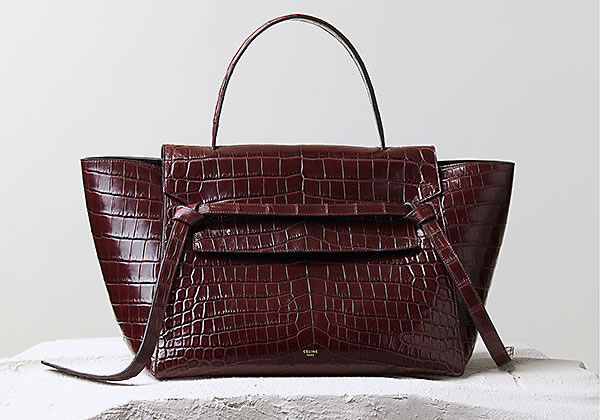 Celine Belt Bag in Burgundy Crocodile