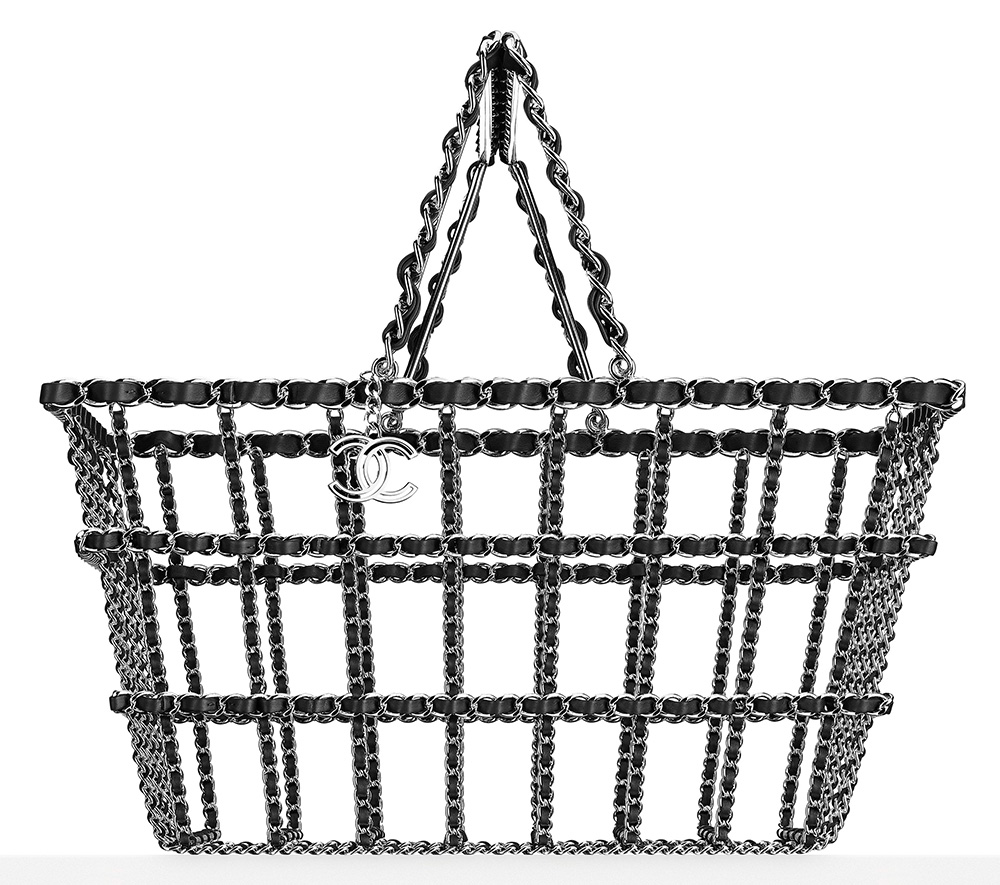 Chanel Brass and Leather Shopping Basket 12500