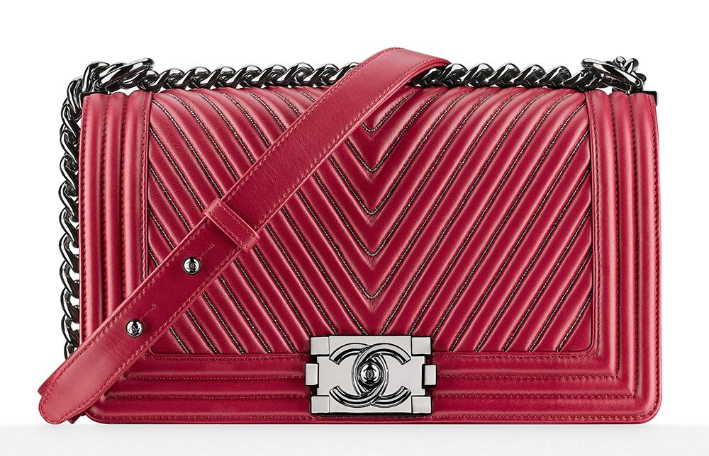 Chanel Chevron Boy Bag Burgundy 6100
