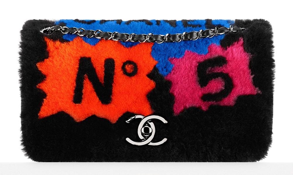 Chanel Patchwork Shearling Flap Bag Black 5900