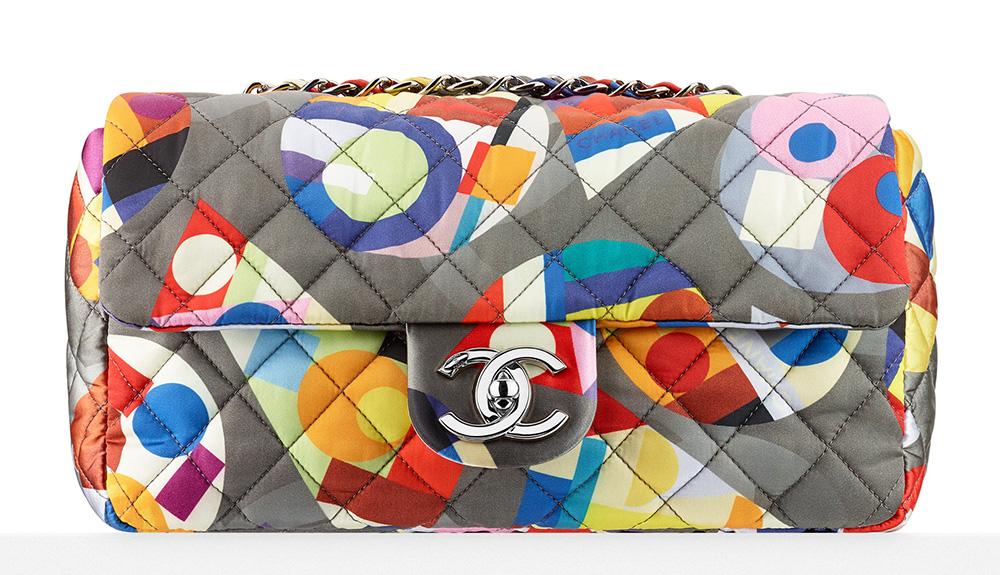 Chanel Printed Nylon Flap Bag 2450