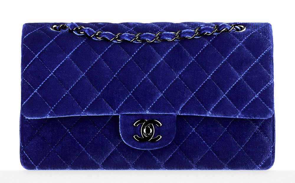 Chanel Velvet Classic Flap Bag Blue 3700