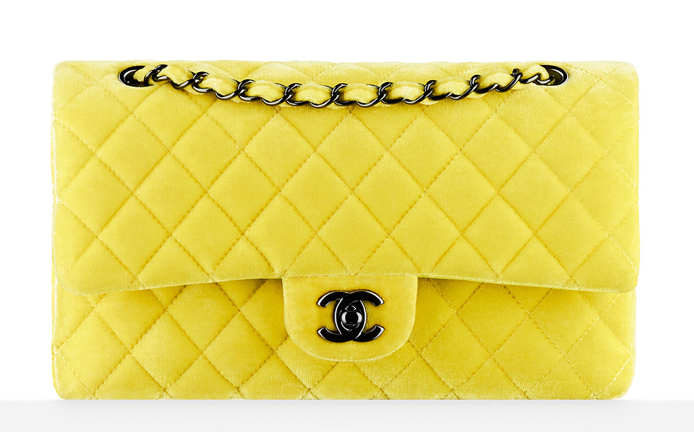 Chanel Velvet Classic Flap Bag Yellow 3700