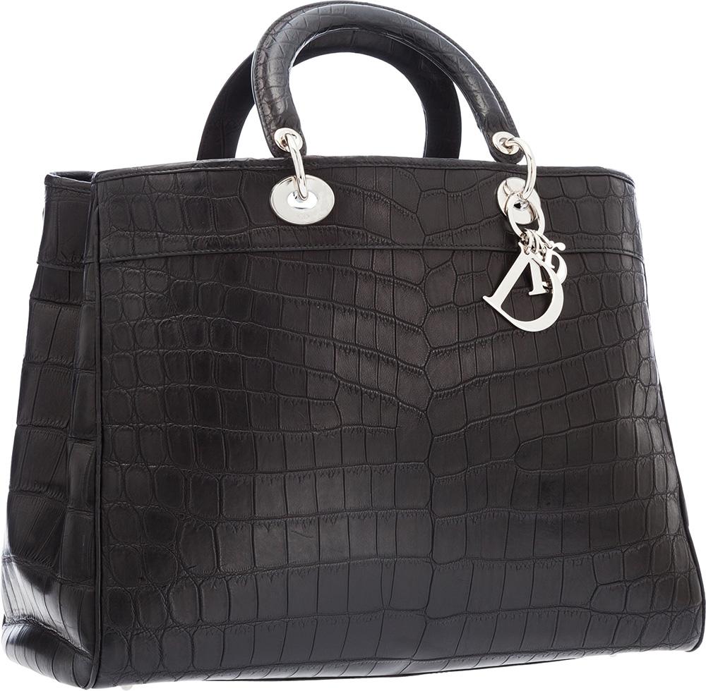 Christian Dior Matte Black Crocodile Diorissimo Tote Bag