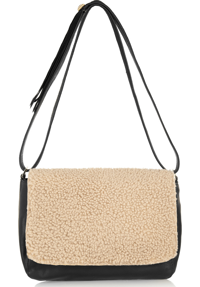 Clare V Louise Shearling Shoulder Bag