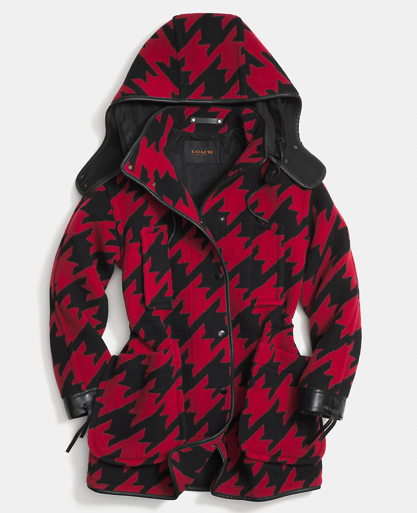 Coach Wool Houndstooth Parka