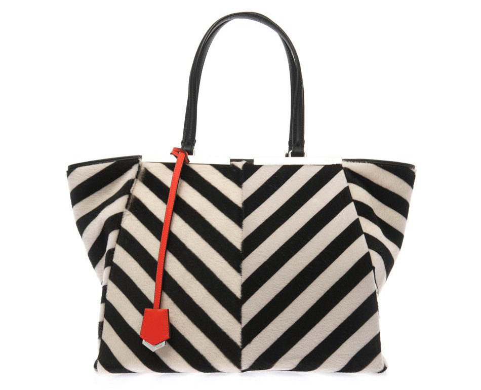 FENDI 3Jours trapeze wing calf-hair tote