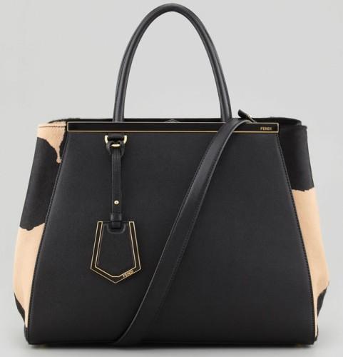Fendi 2Jours Animal Print Tote Bag in Black:Tan