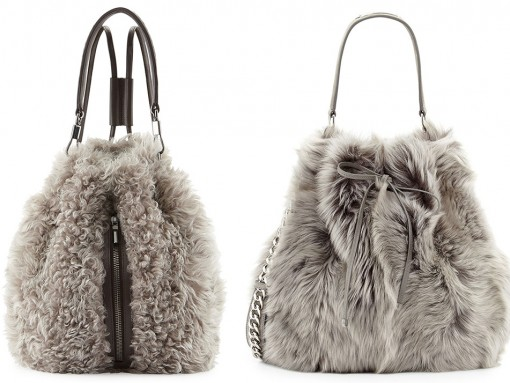 Grey Fur Bucket Bags