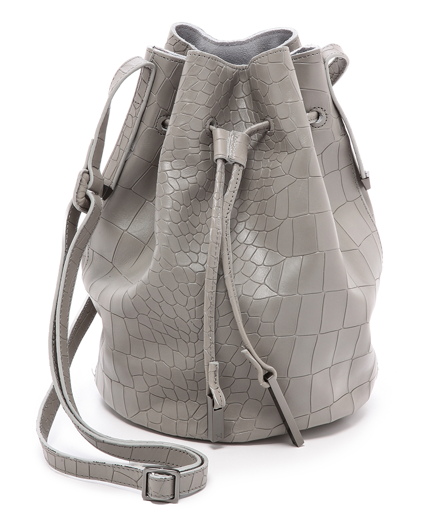 Halston Heritage Croc Embossed Bucket Bag