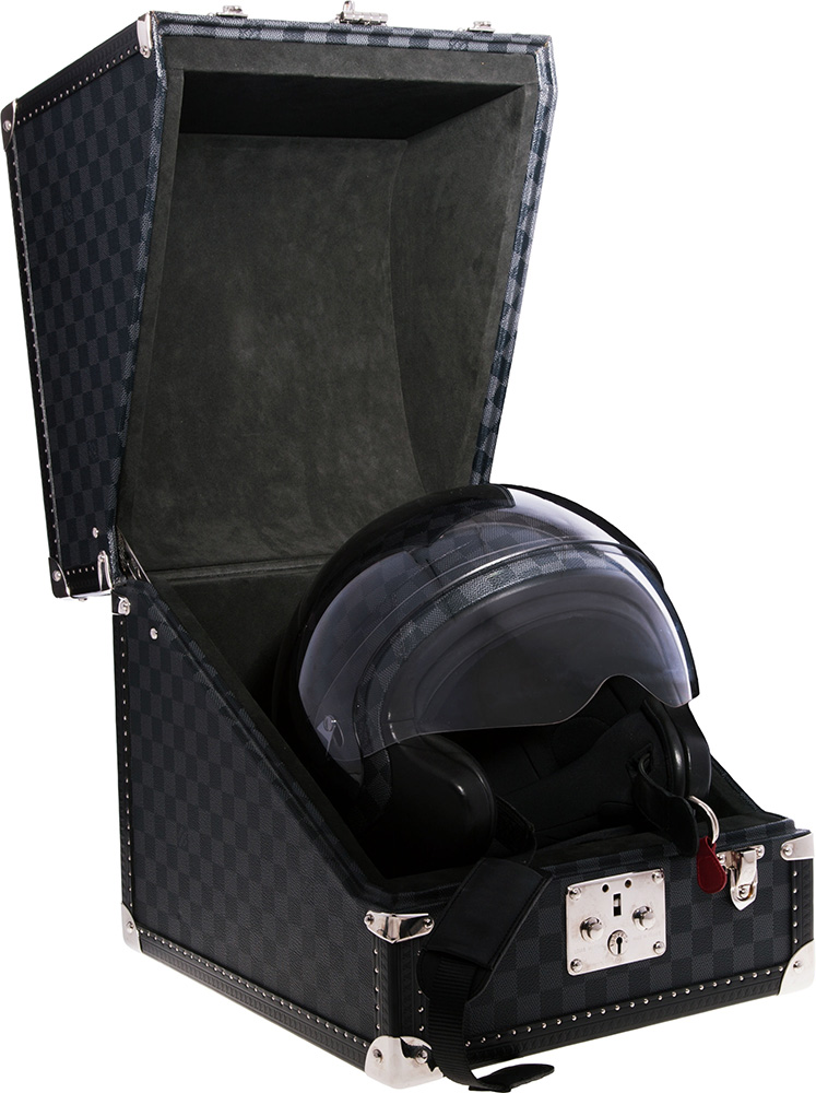 Louis Vuitton Limited Edition Damier Graphite Motorcycle Helmet & Hardsided Case