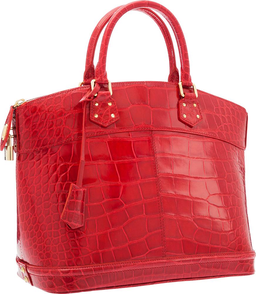Louis Vuitton Red Alligator Lockit MM Bag